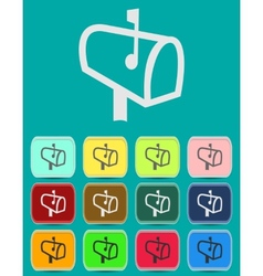 Mailbox with letters icon with color variations vector image