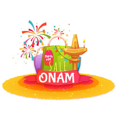 Onam holiday sale banner with ribbon vector image