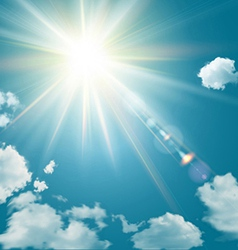 Realistic shining sun with lens flare vector image