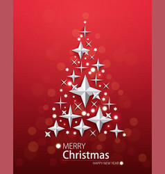 red background with christmas tree vector image