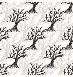 seamless pattern tree without leaves halloween vector image vector image