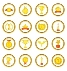 Trophy award set cartoon style vector image vector image