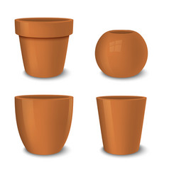 realistic brown empty flower pot set vector image vector image