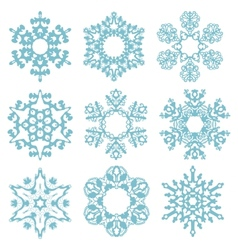 Set blue snowflakes isolated on a white background vector image vector image