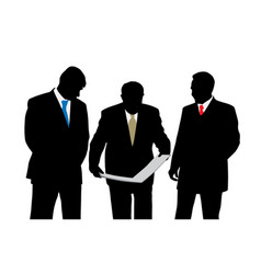 three businessmen architects oe engineers vector image