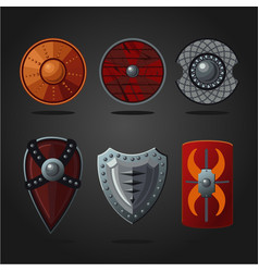 antique fantasy shields set weapons collection vector image