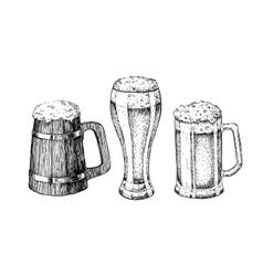 Beer glass mug wooden mug Hand drawn vector image vector image