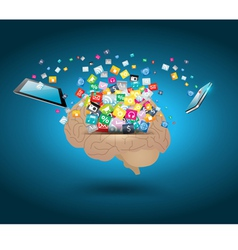 Colorful application icon with brain vector image vector image