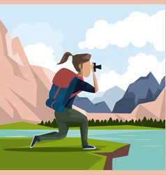 Colorful landscape of hiking woman taking a vector