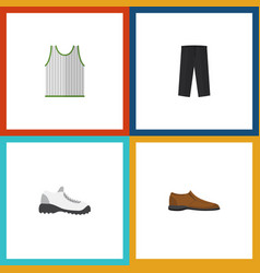 flat icon dress set of sneakers singlet pants vector image vector image