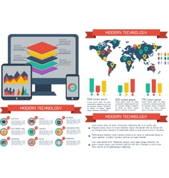 Modern flat infographic background vector image