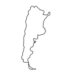 Argentina map of black contour curves of vector