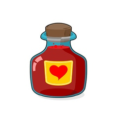 Love potion Bottle Glass vessel with wooden vector image