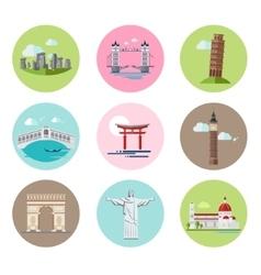 National Landmarks Set in Flat vector image