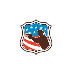 Policeman Silhouette Pointing Gun Flag Shield vector image