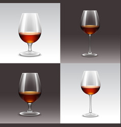 set of wine glasses isolated vector image vector image