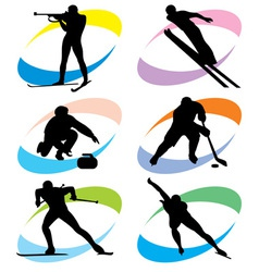 set winter sport icons vector image vector image