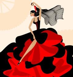 woman flamenco vector image
