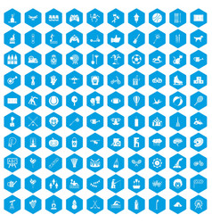 100 kids activity icons set blue vector image