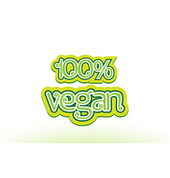 100 vegan word text logo icon typography design vector