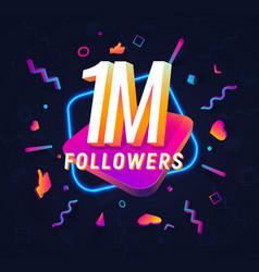1m followers celebration in social media vector