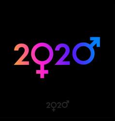 2020 logo gradient male female symbol gender vector