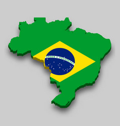 3d isometric map brazil with national flag vector image
