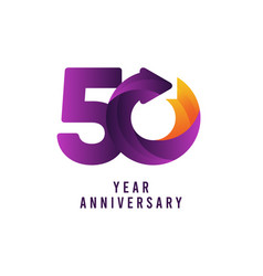 50 years anniversary gradient purple template vector