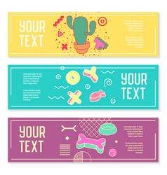 Abstract memphis style horizontal banners vector