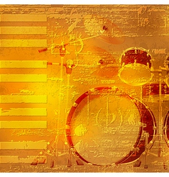 Abstract yellow grunge piano background with drum vector