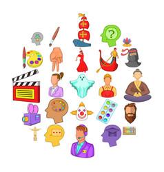 Actors icons set cartoon style vector