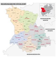 Administrative map dusseldorf region vector