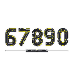 alphabet sport tech number style in a set 67890 vector image