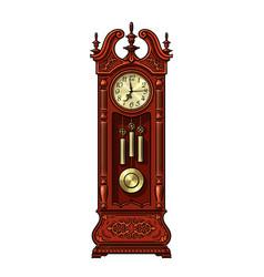 Antique grandfather pendulum clock vector