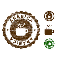Arabica stamp seal with distress surface vector