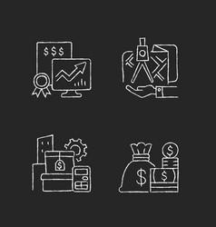 assets management chalk white icons set on dark vector image