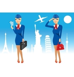 attractive stewardess holding briefcase vector image