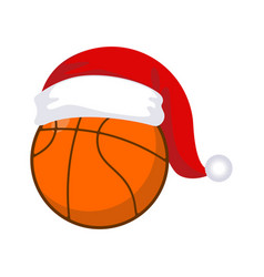 basketball in cap santa claus sports new year and vector image