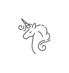beautiful doodle character unicorn icon vector image