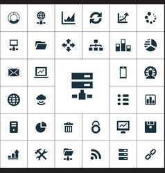 Big data database icons universal set vector