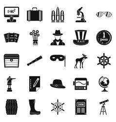 binoculars icons set simple style vector image