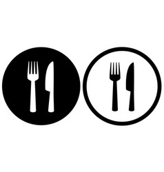black restaurant sign with fork and knife vector image