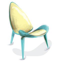 blue retro chair watercolor design decor vector image
