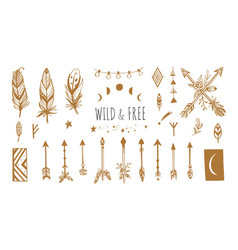 Boho style collection for tattoo icon vector
