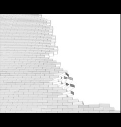 Broken wall on white vector