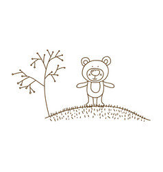 Brown contour graphic of bear in hill with plants vector
