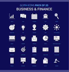 business and finance white icon over blue vector image