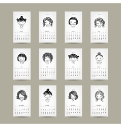 Calendar grid 2015 cute girls design vector