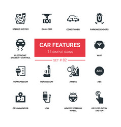 car features - line design silhouette icons set vector image