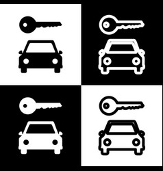 car key simplistic sign black and white vector image
